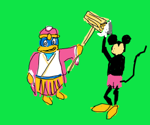 King Dedede tries to club Mickey Mouse