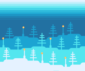 Forest with lamps