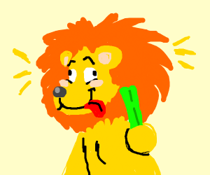 Lion carrying Celery