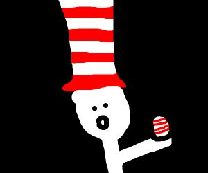 Cat in the hat with egg