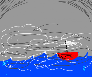 Small sailboat in foggy ocean. grey sky