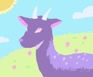 Deer with purple fur in the field