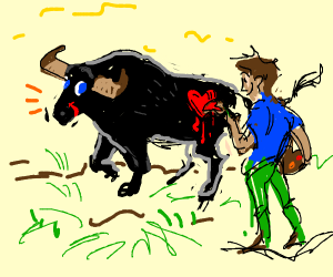 Painting a heart on a Bulls Bum