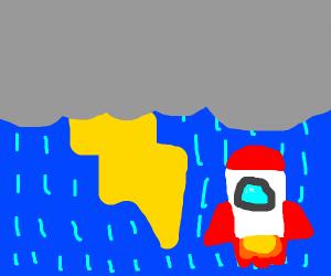 Rocket in a storm