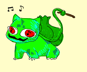 Musical bulbasaur with a drumstick