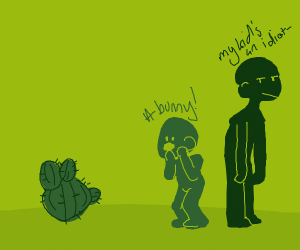 child thinks cactus is a bunny