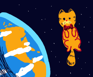 Ginger cat with a bow tie above earth
