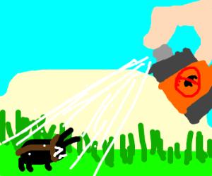 killing a bug with spray