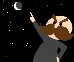 angry mustasch man pointing at sky
