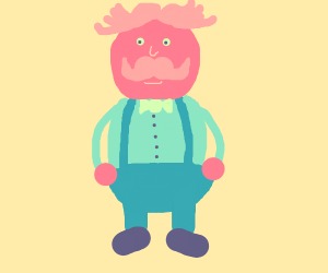 Red head man with mustache and suspenders