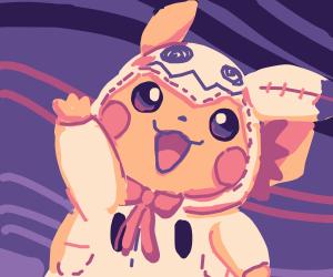 Pikachu in a mimikyu outfit (Pokemon)
