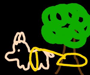 Goat creature tied to tree stump