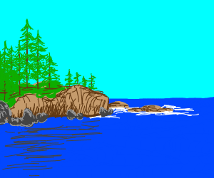 trees to cliff to water landscape