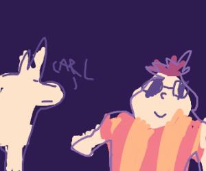 Llama calls his friend Carl