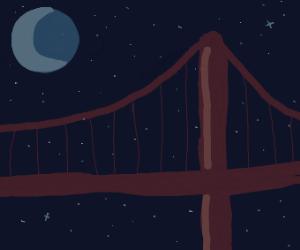 A bridge at night
