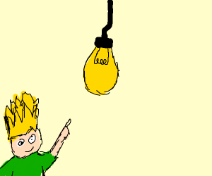 Guy pointing at a lightbulb