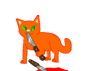 Orange cat with two knives sticking into the