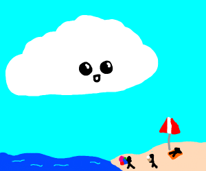 Cloud looking on the beach