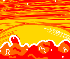 Sunset on lava planet