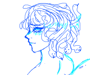 lovely blue medusa with snake tail also