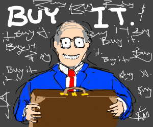 A suited man urging you to buy a briefcase