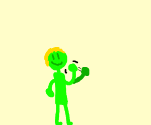 blonde , green , human waving