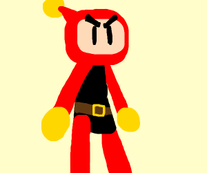 Bomberman but he's red and eyebrows