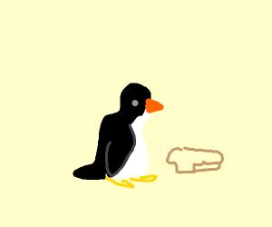 Penguin eats bread