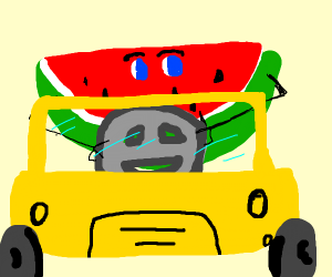 watermelon man driving