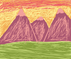 a sunset over the mountains