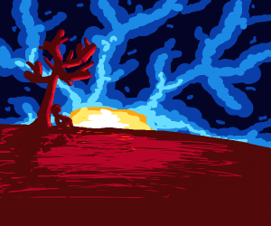 Guy sitting by red tree watching the sun rise