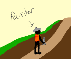 Painter hiking with a Scissors