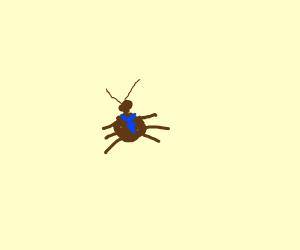 Business bug wears a blue tie