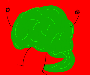 A green brain with arms and legs