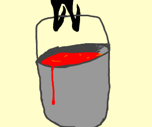 something with a bucket of blood