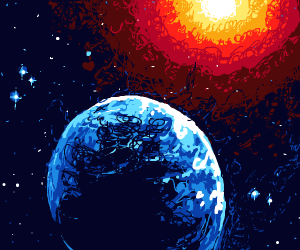 bright sun in space with another planet