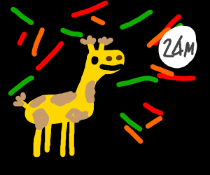 Giraffes partying too hard at two am