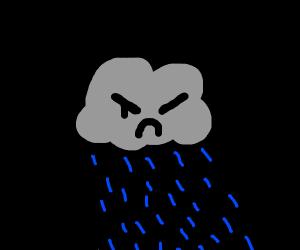 Smoky Raincloud raining in a black void