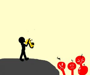 Saxophone playing man getting hate
