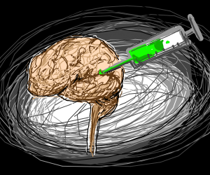 Vial injection into brain