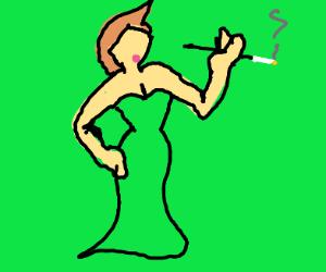 woman in a fancy green dress smoking