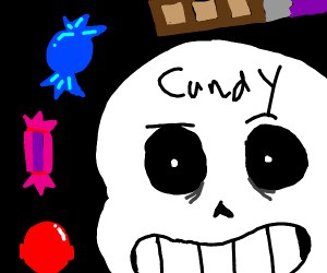 cool skeleton has a lot of candy