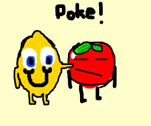 lemon pokes an apple