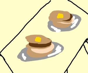 Two stacks of pancakes