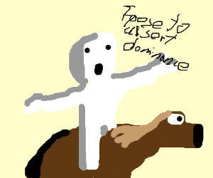 White faced man on horse t posing