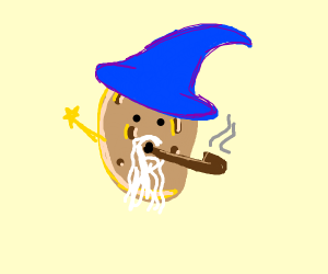 a potato wizard smokes pipe