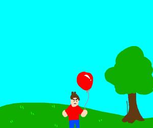 Guy lifting balloon angrily