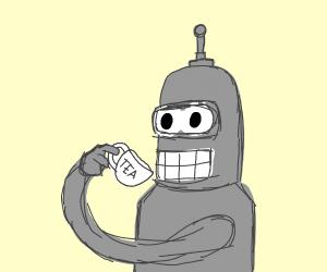 Robot drinks tea
