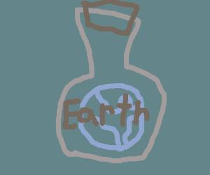earth in a potion bottle