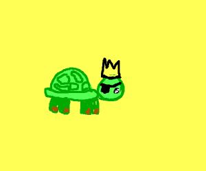 one-eyed bearded turtle king feels sad